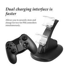 Stacja dokująca LED Dual USB Lader stacja dokująca kołyska dla Sony Playstation 4 PS4 sterownik konsoli do gier prezent