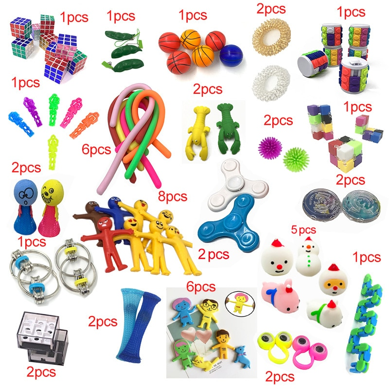 2021 New Funny Combination 50 Pieces Extrusive-Solving Fidget Kids Toys Hot Selling Various Styles Toy Set Wholesale enlarge