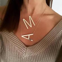 Nouveau minimaliste or Rose or argent couleur 26 A-Z lettre nom colliers initiaux pour les femmes longue grande lettre pendentif collier