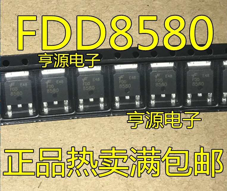 10 Uds FDD8580 TO252 MOS FET tubo-8580 original N canales