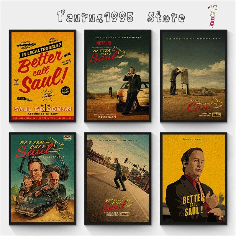 Nieuwe Vintage Better Call Saul Goodman Classic Movie Poster Retro Poster Schilderij Thuis Room Decor Kraftpapier Muurstickers