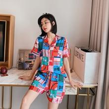 Summer New Ice Silk Pajamas Women Thin Korean Version of the INS Short-Sleeved Shorts Fashion Printed Clothing Wholesale