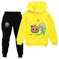 2 16years baby girls clothes set kids cute cocomelon jj hoodies jogger pants 2pcs sets kids outfits toddler boys clothing sets