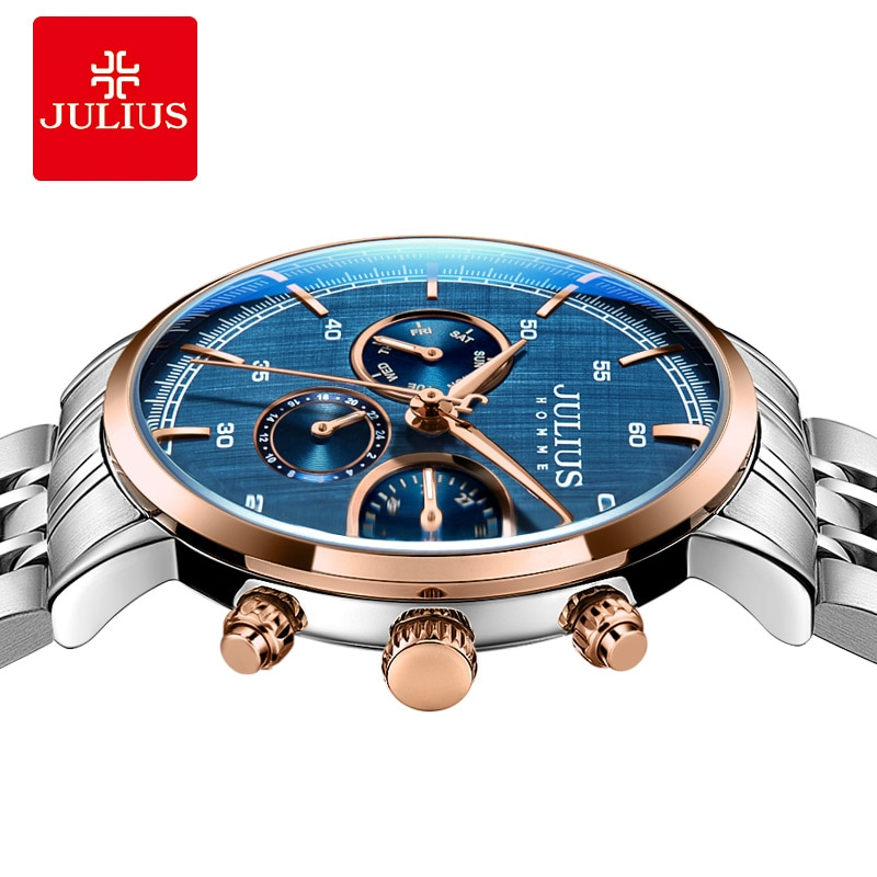 Watch for Men Stainless Steel Clock Mens Watches Top Brand Luxury Mens Gifts 6 Hands Multi function Business Watch Blue Dial enlarge