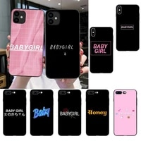 babe babygirl honey line text art painted phone cover for iphone se2 11 pro xs max xs xr 8 7 6 plus 5 5s se 12 mini 12promax