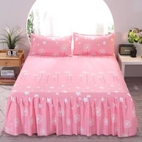 2020 bed sheet 2pcs pillow covers bedspread bed skirt thickened sheet single bed dust ruffle flower pattern bed cover sheets
