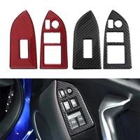 2pcs carbon fiber car interior window switch button cover trim sticker for subaru brz toyota 86 rhd