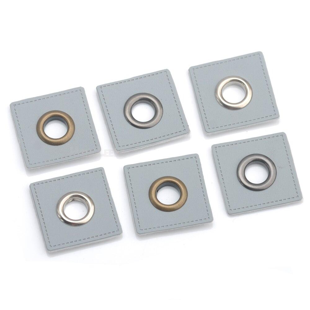 Lote de 30 unidades de insignias cuadradas de cuero PU gris de 27mm para coser en parches, etiquetas + argollas metálicas de latón de 8mm con arandelas interiores, envío gratuito