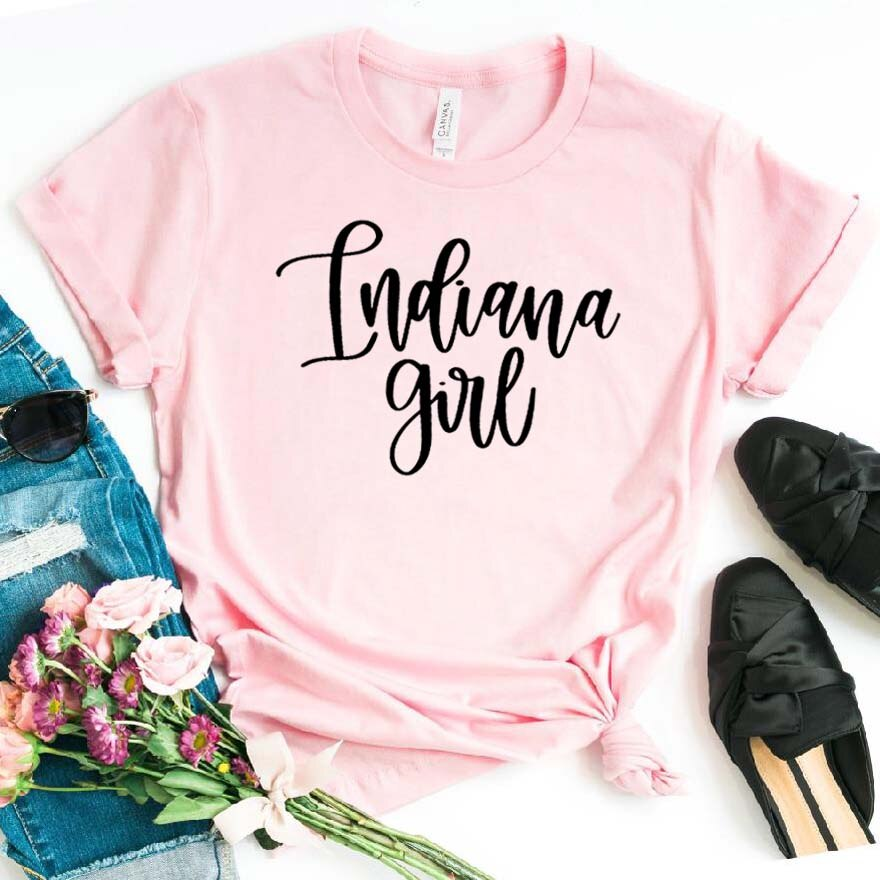 Indiana Girl Print Women tshirt Cotton Hipster Funny t-shirt Gift Lady Yong Girl Top Tee Drop Ship ZY-454
