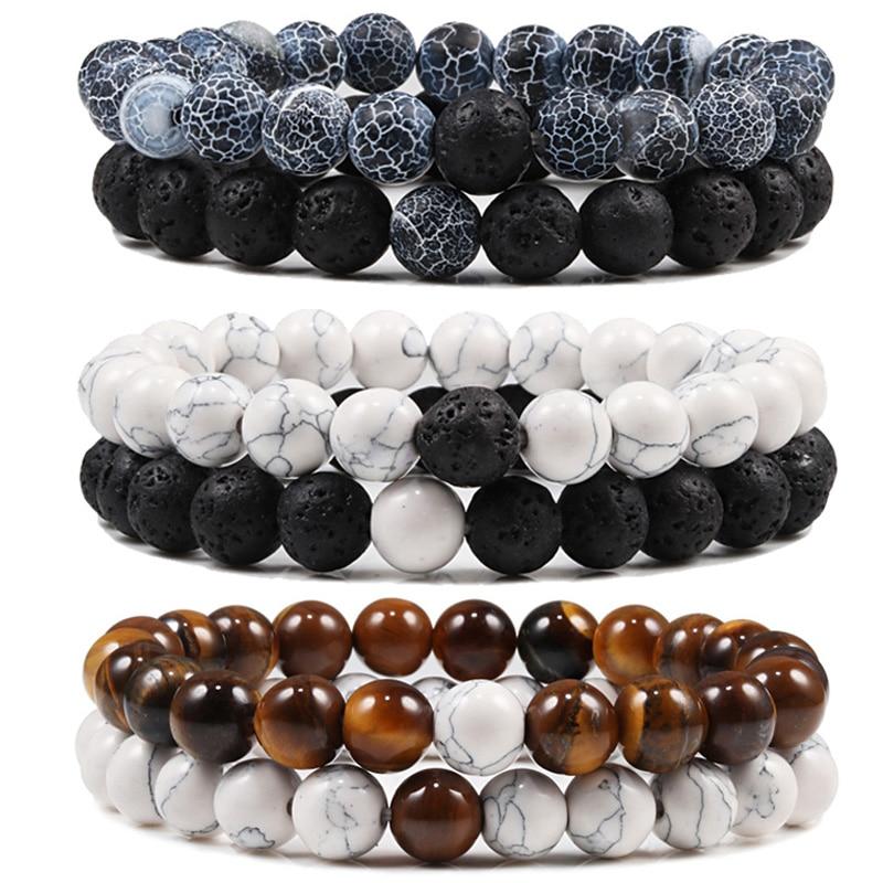 Set Bracelet Couples Distance Black White Natural Lava Stone Tiger Eye Beaded Yoga Bracelets for Men