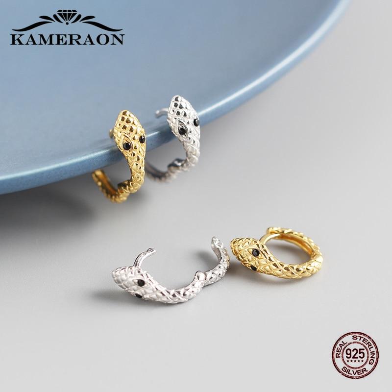 925 Sterling Silver Hoops Earrings Zircon Trendy Korean Small Earrings For Women Cute Snake Jewelry Golden Silver 8mm Hoop new korean hoops hoop earrings metal hollow pearl zircon cute classic flowers women s earrings for jewelry accessories
