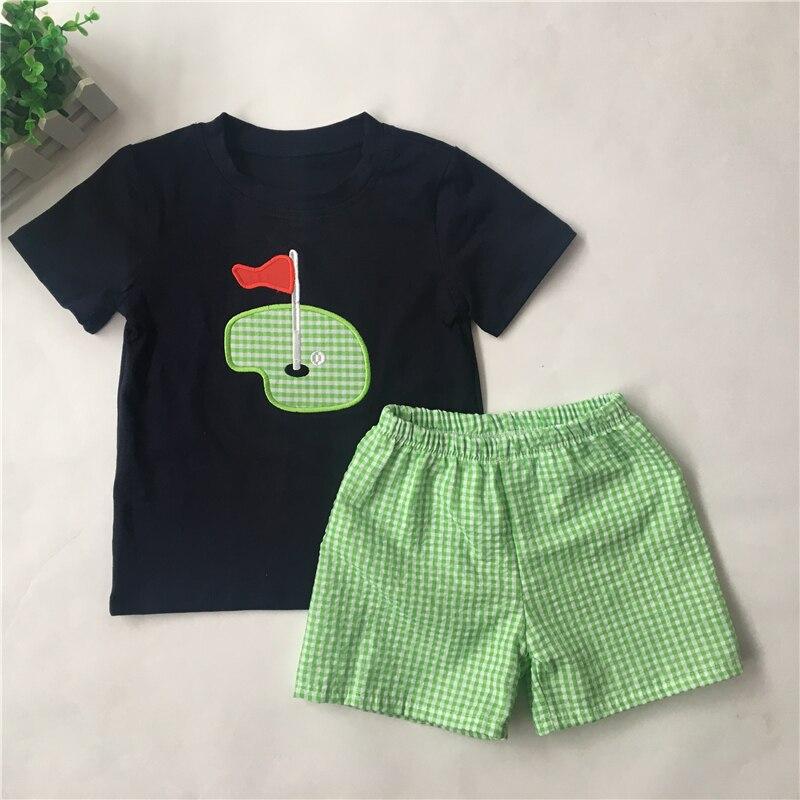 ¡Novedad de 2020! Puresun, bonito aplique de Golf, conjunto de verano para niños, camisa azul marino con guinga verde, conjuntos de ropa de verano para niños