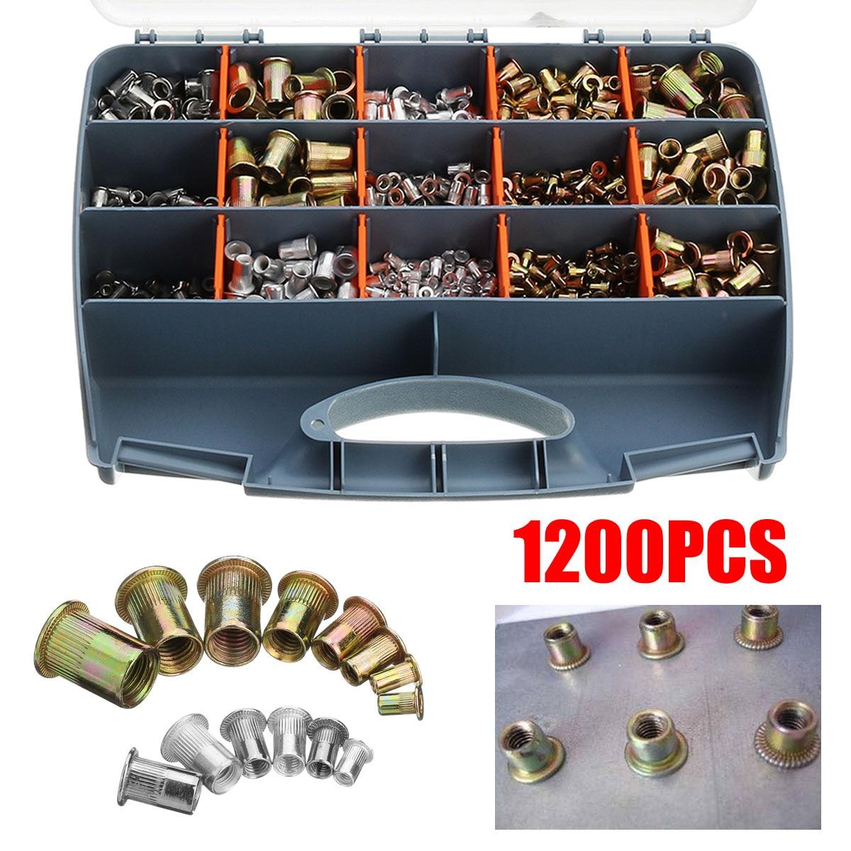 Kit de herramientas de remache de 900/1000/1200 Uds., herramienta de ajuste de tuerca, tuerca, remache, tuerca, pistola de remachado manual, mandriles M3 M4 M5 M6 M8 M10 M12