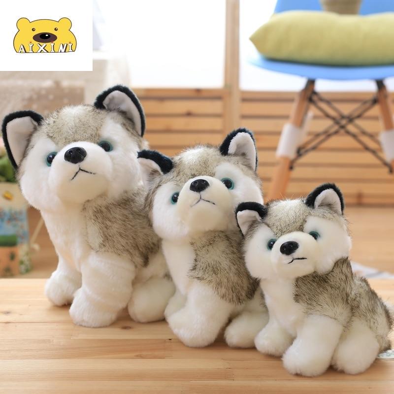 Husky-peluches de animales Kawaii para niños y bebés, perro de imitación, juguetes...