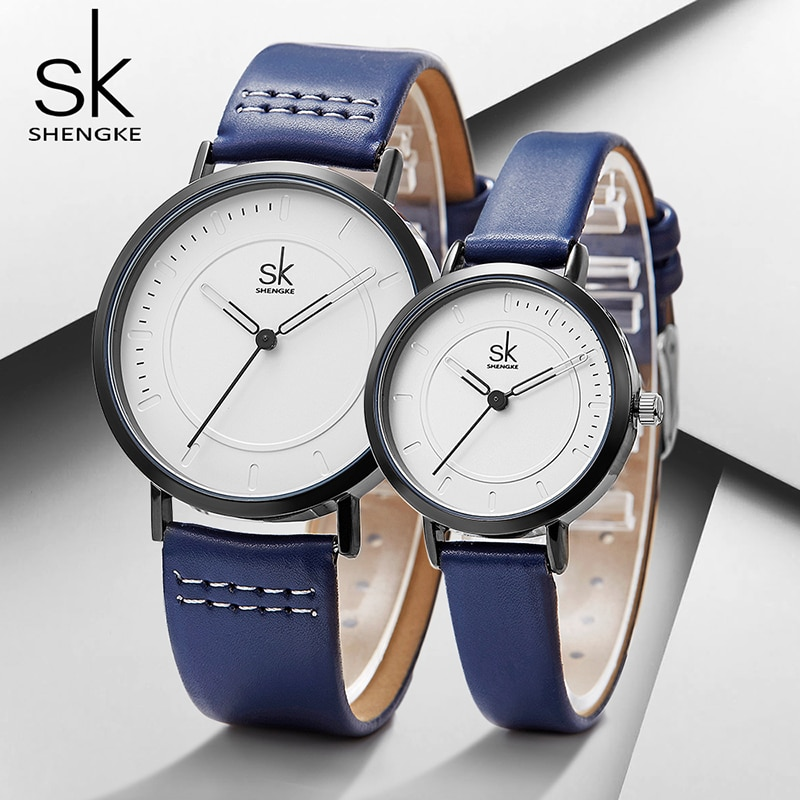 Shengke relojes de cuarzo pareja Set 2019 nueva moda Acero inoxidable Relojes de Cuero de lujo femenino amante del reloj de cuarzo regalos
