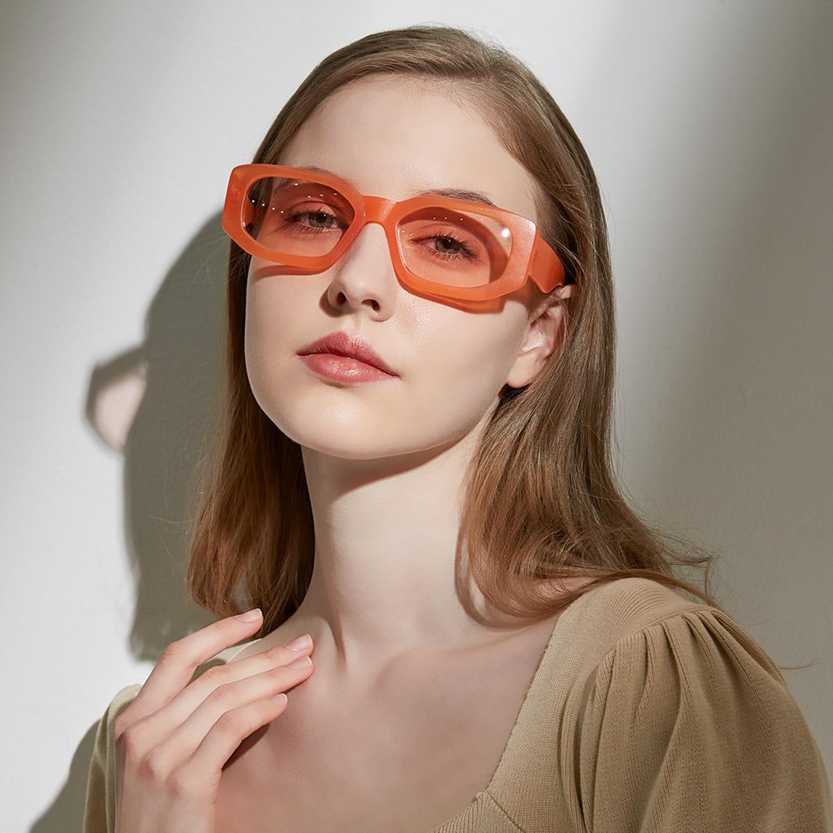 Retro Polygon Rectangle Sunglasses Women Fashion Jelly Color Eyewear Shades UV400 Men Square Colorfu