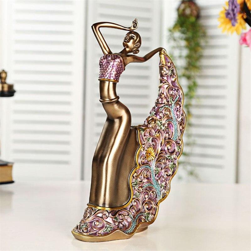 Resina adorno para bailarín moderno creativo decoración del hogar artesanías estatuilla clásica lindo Pavo Real bailando escultura de mujer estatua