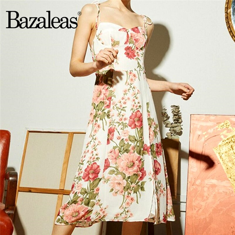 Bazaleas elegante estampado Floral blanco mujeres midi vestido Vintage pecho elástico lado Split mujeres vestido ajustar Spaghetti straps vestido