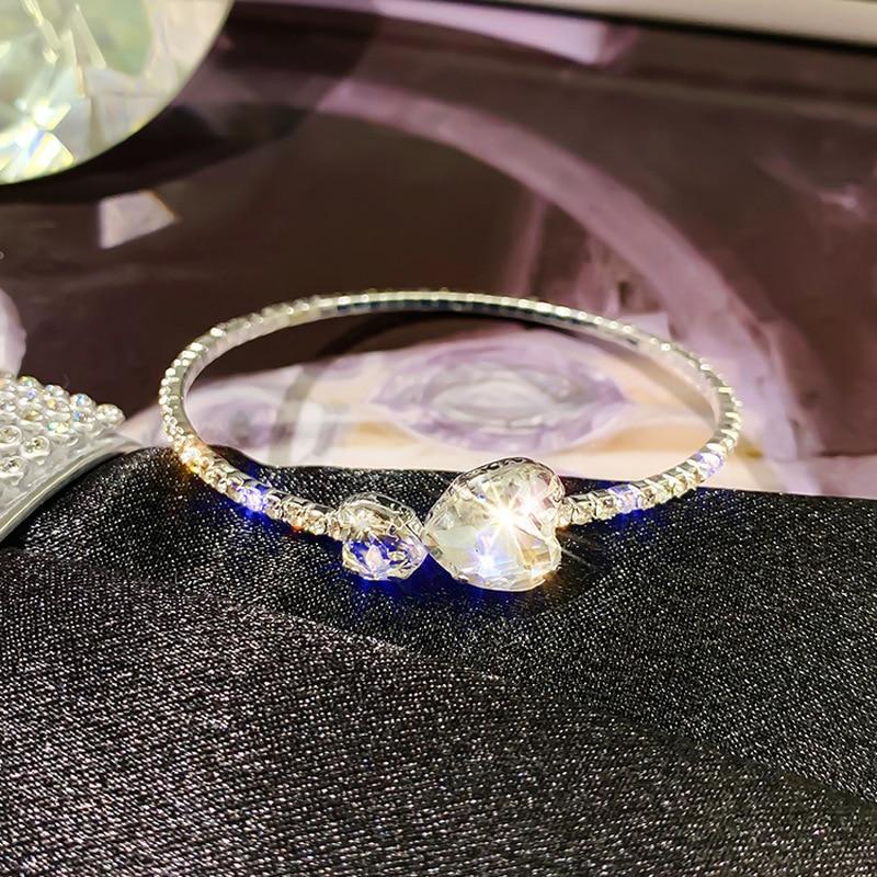 Accesorios de moda de temperamento europeo y americano para mujer, joyería de Collar de pulsera de circón con diamantes de imitación exquisitos simples
