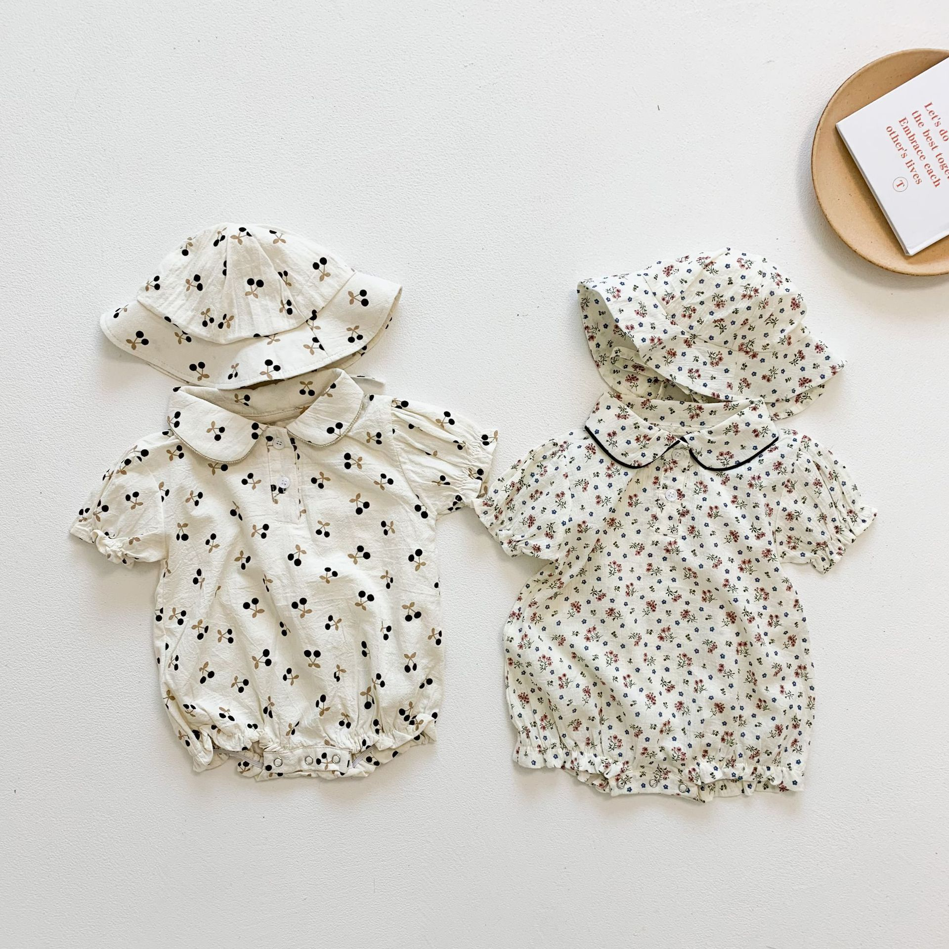 Yg Brand Children's Wear, Summer Little Flower Girl's One-piece Suit, Cherry Baby Girl's Short Sleev