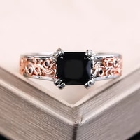 classic geometric black stone rings for women charm hollow pattern rings for women wedding engagement jewelry rings