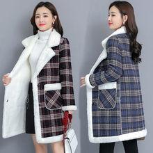 Manteau en laine à carreaux femme veste polaire mince
