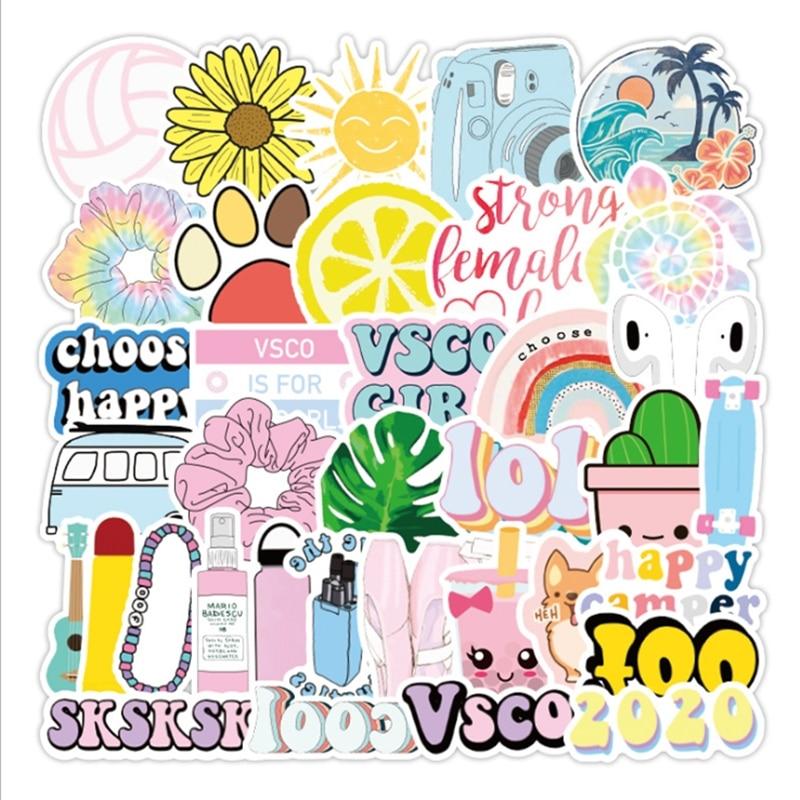50Pcs Laptop Decal Vsco Stickers DIY Cute Vsco Girls Stickers For MacBook Air Retina Pro 11 12 13 15  Sticker Waterproof