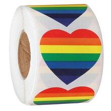 1.5 Cal miłość Rainbow Ribbon Sticker Gay Pride 6 kolorów pasiaste serce w kształcie taśma rolkowa, 500 sztuk na rolkę