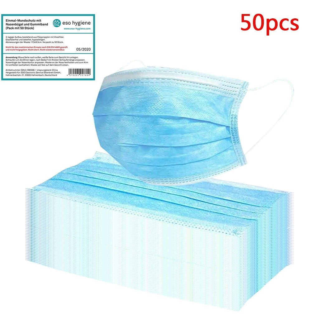 50 Pcs Blue Good Quality Disposable 3-ply Breathable Face Ma Sk Lips Care Ear Loops Disposable Msk T