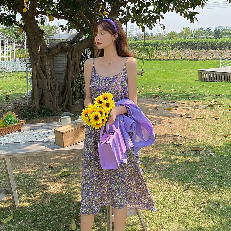 2021 Elegant Fairy Lady Super Small Floral Slip Dress Long-Sleeved Shirt Cardigan Summer Cloth Sexy