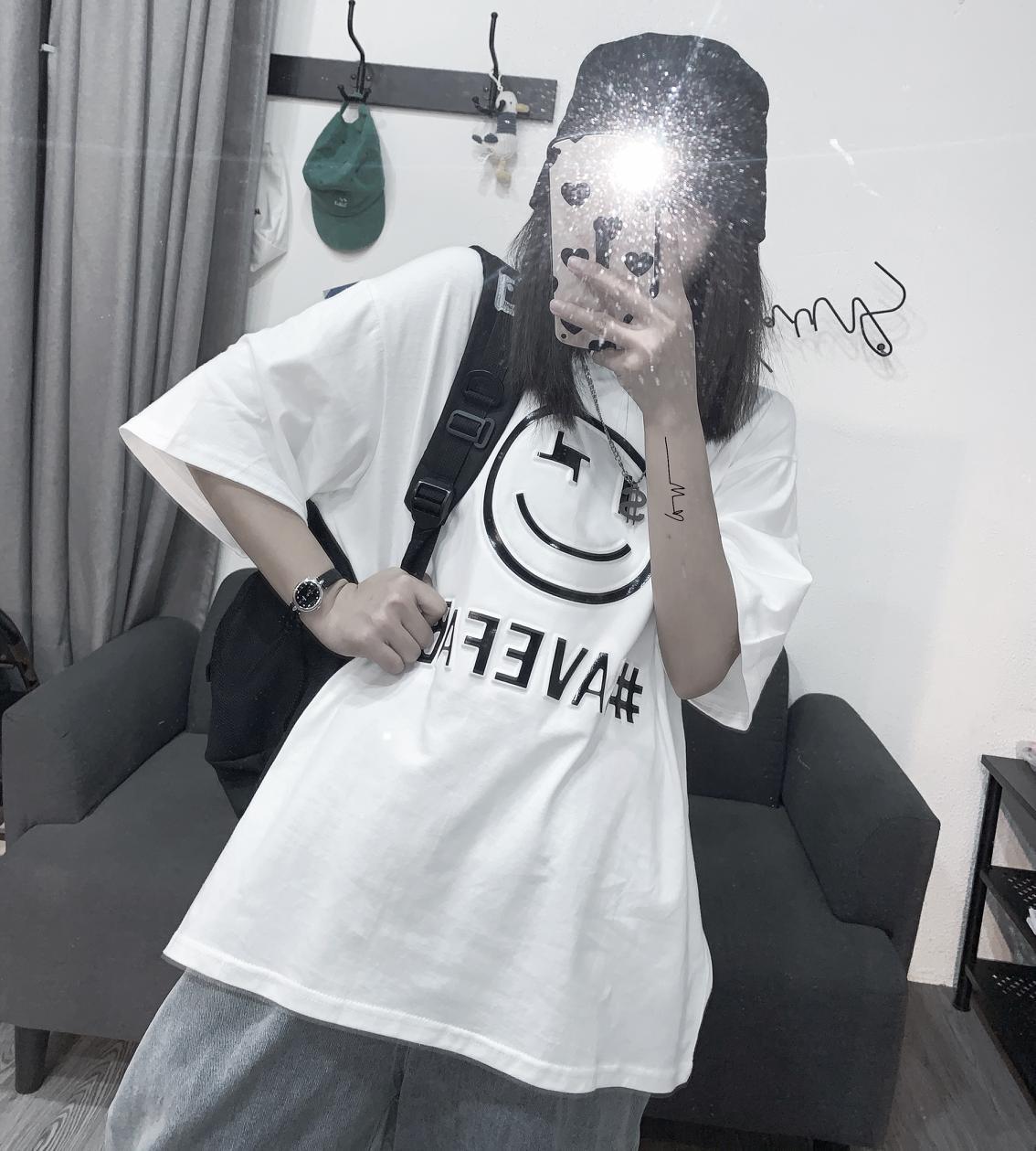 Short Sleeve White Ins T-shirt Spring Autumn Men Women  Korean Style trend print Smiley Casual Clothing Loose Street Style 2021
