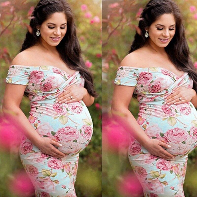 Robe de maternité Maxi rose   Motif Floral, longue, pour femmes enceintes, avec Photo de photographie, vêtements de maternité