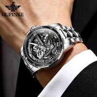 top brand oupinke luxury mens mechanical wristwatch automatic watch men classic skeleton tungsten steel sapphire waterproof