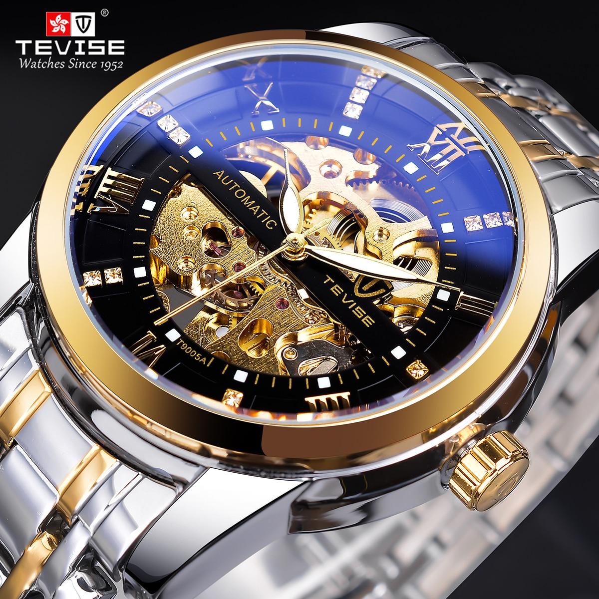 Relógio de Pulso à Prova Tevise Retro Diamante Design Preto Ouro Relógio Mecânico Marca Superior Automático Moda Luxo Esqueleto Dwaterproof Água