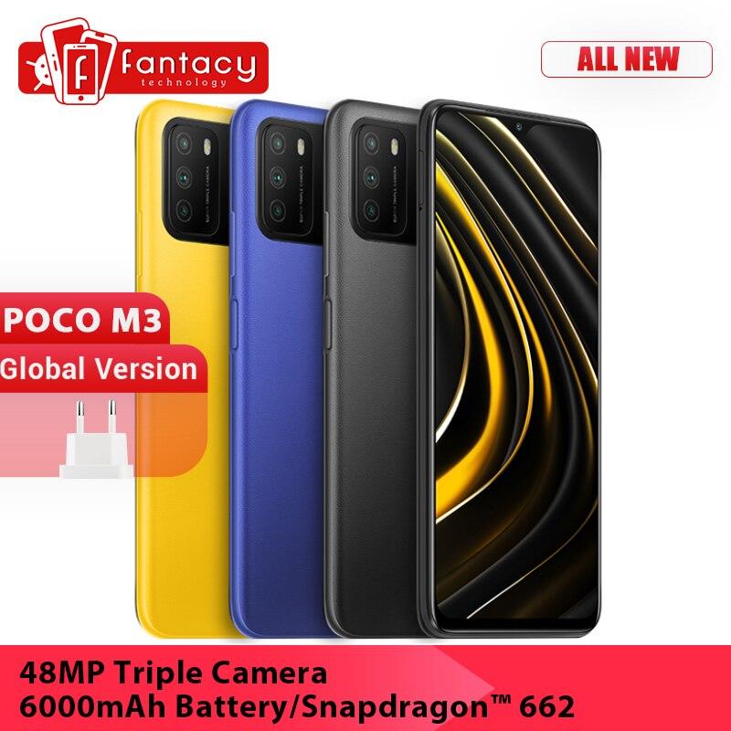 Перейти на Алиэкспресс и купить Глобальная версия POCO M3 мобильный телефон Snapdragon 662 64 Гб 128 6,53 дюймДисплей 48MP тройной Камера 6000 мА/ч, Батарея двойной колонки