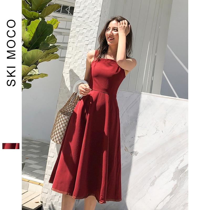 Women Dress A Line Formal Party Dresses Luxury Summer Retro Ladies Sleeveless Knee Length Dress Wine Red Vestidos Branco 2019