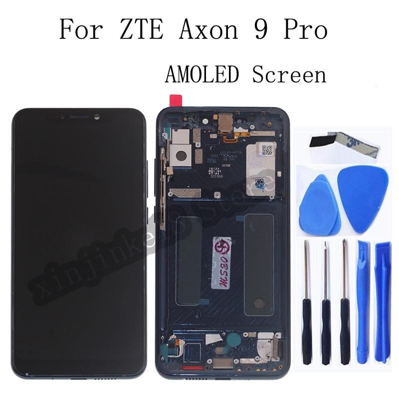 AMOLED العرض الأصلي ل ZTE Axon 9 برو شاشة الكريستال السائل مجموعة المحولات الرقمية لشاشة تعمل بلمس ل Axon 9 برو مع طقم تصليح الإطار