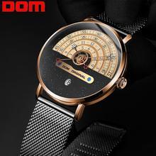 DOM Original Men's Watch 30m Waterproof Top Brand Luxury Gold Big Dial Quartz Watch Men Silver Mesh Belt Wristwatch M-1288GK-9M