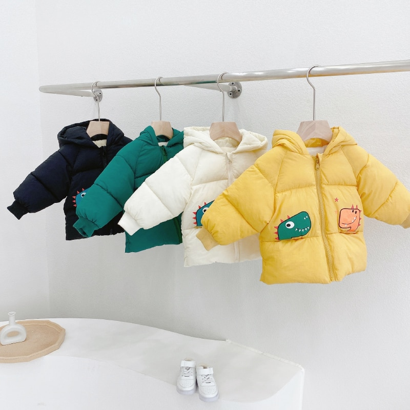 Warm Winter Children's Dinosaur Cotton Clothes Boys and Girls Out Cotton-Padded Clothes Parkas