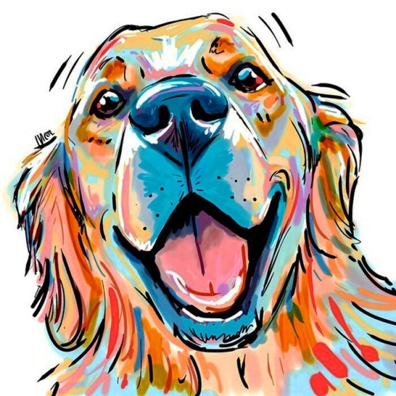 5D bella pintura de diamante de color perro bordado de diamantes retrato completo de cuadro de punto de cruz decoración del hogar regalos