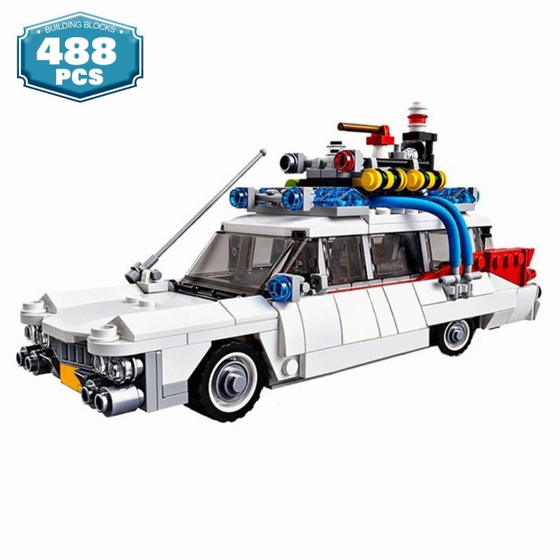 Технические автомобили, город, Ghostbusters, модель Ecto-1, строительные блоки, создатели MOC, кирпичи для фильмов, автомобили, DIY, обучающие игрушки дл...
