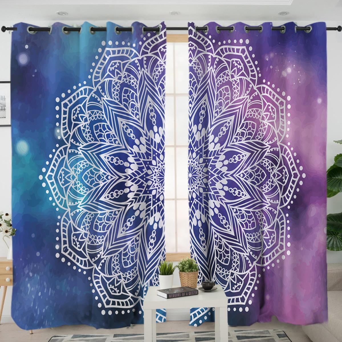 Cortinas 3D para ventana, Cortinas De Dormitorio, Mandala bohemio, flores, decoración del hogar, salón