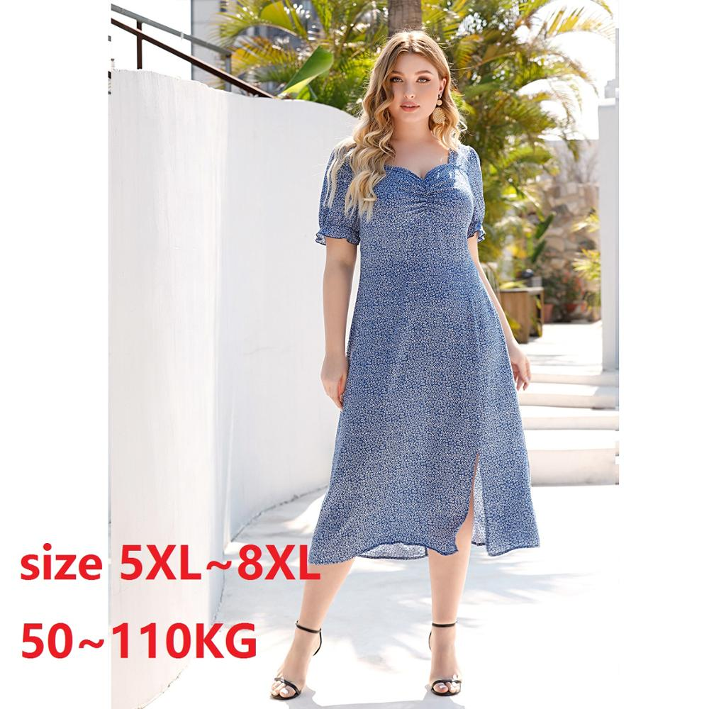 Plus Size Dresses for Women  5XL 6XL 7XL 8XL Robe Vintage Floral Print Long Dress Big Loose Casual Summer Maxi Dress