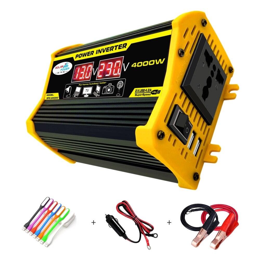 EFOISON-محول طاقة السيارة ، 4000 واط ، 12 فولت إلى 230 فولت ، للمنزل ، شاحن الهاتف ، الكمبيوتر المحمول ، شحن طاقة الطوارئ