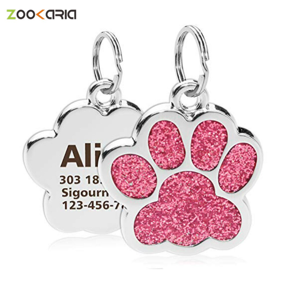AliExpress - Personalized Dog Cat Tags Engraved Cat Dog Puppy Pet ID Name Collar Tag Pendant Pet Accessories Paw Glitter Pendant