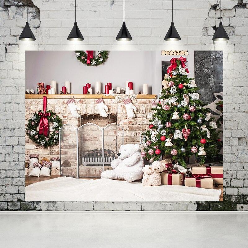 VinylBDS Fondo caja de regalo de Navidad de oso blanco fondo blanco alfombra familia fondos ladrillo chimenea foto de niños para estudio