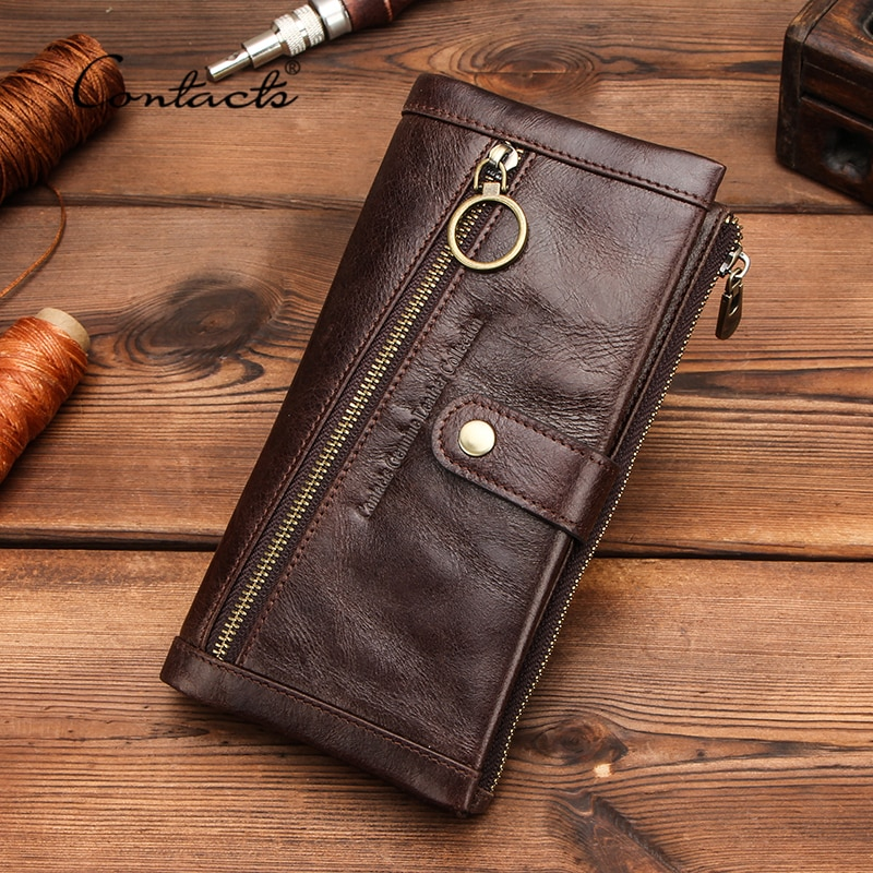 new genuine leather men wallets leather men bags clutch bags koffer wallet leather long wallet with coin pocket zipper men purse CONTACT'S Long Wallet Men Genuine Leather Purse Wallets RFID Blocking Clutch Bag Card Holder Coin Purses Zipper Phone Pocket
