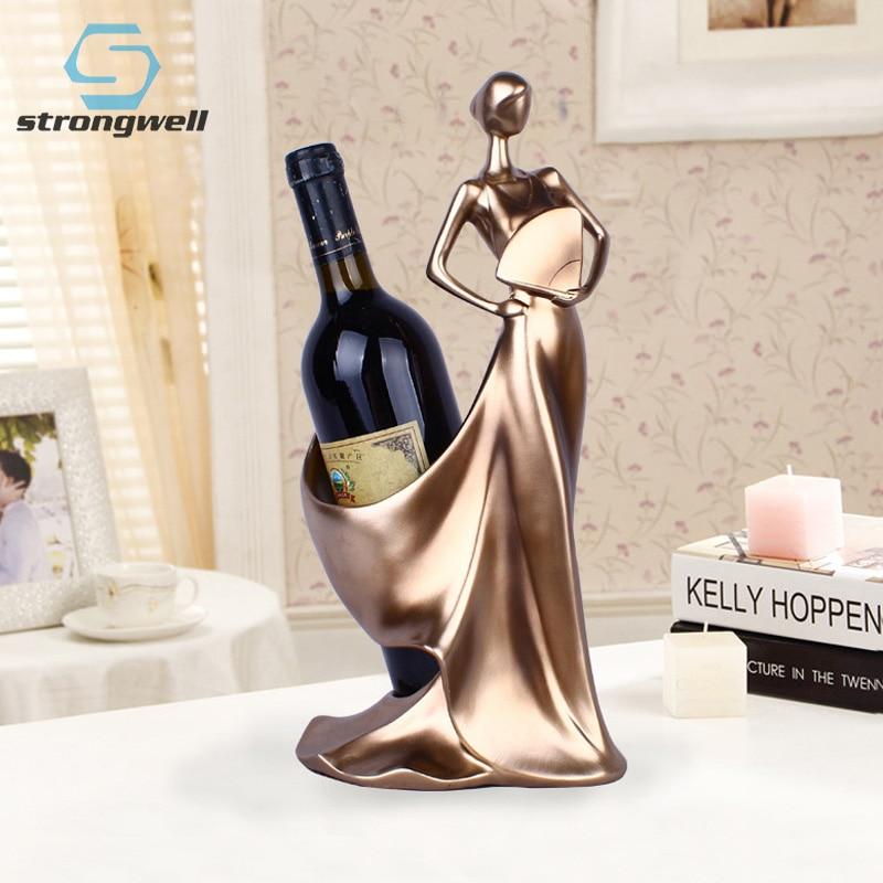 تماثيل زخرفية حديثة وبسيطة ، رف نبيذ على شكل مروحة ، زينة زفاف إبداعية