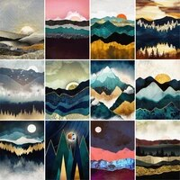gatyztory diy painting by numbers on canvas oil pictures for adults abstract sunset landscape coloring by number home decoration