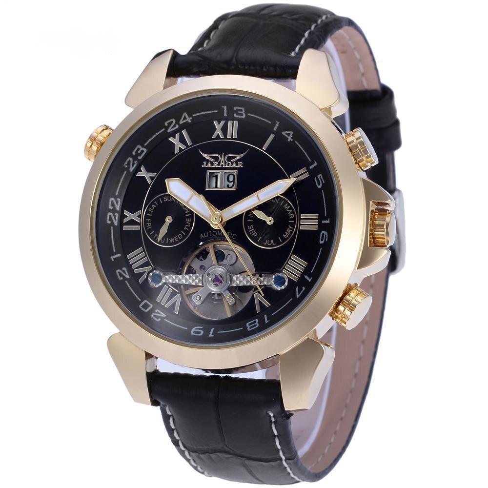 Fully Automatic Mechanical Watch Week Calendar Transparent Men's Belt Watch New Fashion Механические Часы